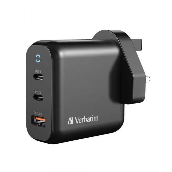 Verbatim 3 Port 65W PD 3.0 & QC 3.0 GaN USB 充電器